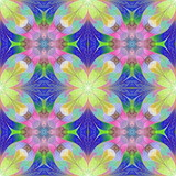 Multicolored flower pattern in mosaic style. You can use it for invitations, notebook covers, phone cases, postcards, cards, wallpapers. Artwork for creative design, art and entertainment. - 253002658