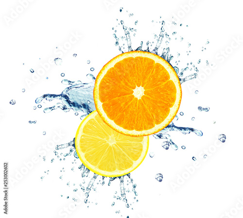 orange and lemon with water splash isolated on white - 253002602
