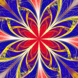 Beautiful multicolored fractal flower. Collection - frosty pattern. You can use it for invitations, notebook covers, phone case, postcards, cards, wallpapers. Artwork for creative design, art. - 253004482