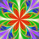 Beautiful multicolored fractal flower. Collection - frosty pattern. You can use it for invitations, notebook covers, phone case, postcards, cards, wallpapers. Artwork for creative design, art. - 253005050