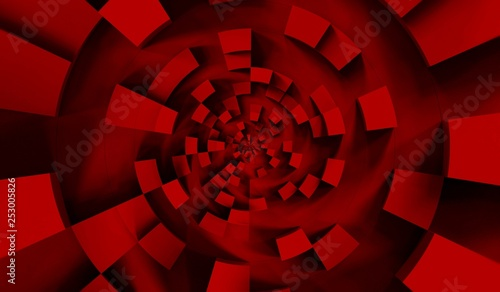 Red cubes abstract background pattern. 3d illustration.