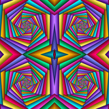 Multicolor Seamless abstract festive vivid pattern. Tiled ethnic pattern. Geometric mosaic. Great for tapestry, carpet, blanket, bedspread, fabric, ceramic tiles, stained glass window, wallpapers - 253011470