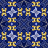 Floral pattern in stained-glass window style. You can use it for invitations, notebook covers, phone cases, postcards, cards, wallpapers. Artwork for creative design. - 253015800