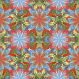 Multicolored floral pattern in stained-glass window style. You can use it for invitations, notebook covers, phone cases, postcards, cards, wallpapers and so on. Artwork for creative design. - 253015813