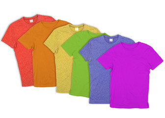 T-shirts in LGBT gay pride rainbow colours