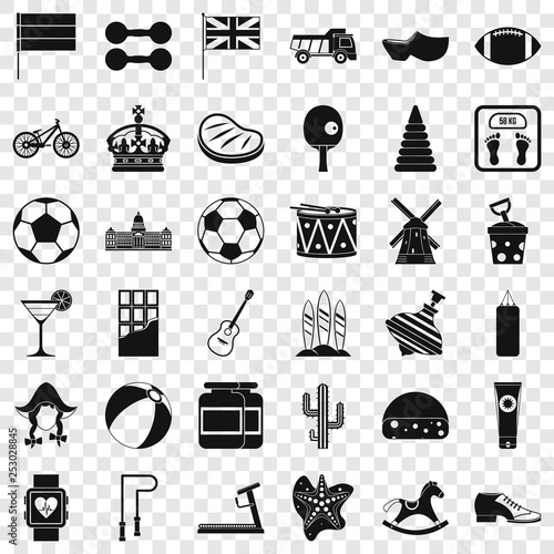 Sport icons set. Simple style of 36 sport vector icons for web for any design