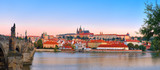 Panoramic image of Romantic Prague at dawn