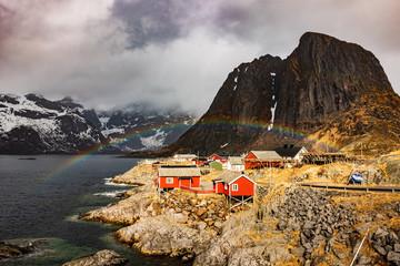 Rainbow Over Village Houses