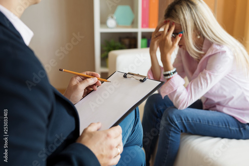 Young woman visiting psychologist