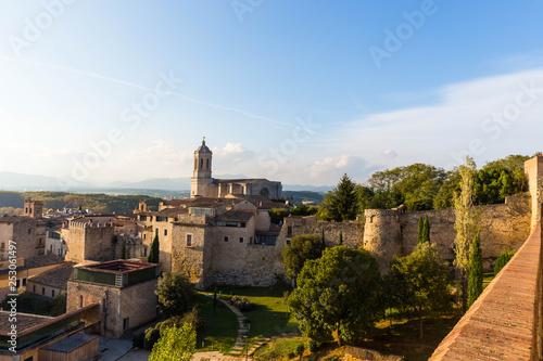 Leinwandbild Motiv The medieval quarter of Gerona.  Costa Brava, Catalonia, Spain.