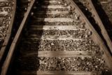 Sepia photo of some old rails retro backgroun
