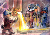 dogs metallurgists, busy, humor, watercolor illustration