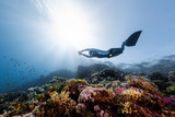 Woman free diver glides in monofin in the depth over the colorful coral reef