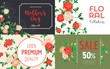 Camellia flower banner set. Cartoon illustration of camellia flower vector banner set for web design