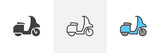 Scooter bike icon. Line, moped glyph and filled outline colorful version, Motorcycle, motorbike outline and filled vector sign. Symbol, logo illustration. Different style icons set. Pixel perfect