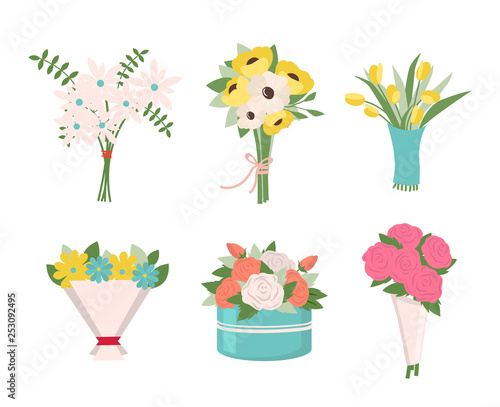 fototapeta na ścianę Pink roses put in container vector, isolated icons set, tulips in wrapping, tied together. Filling of bouquets, foliage and greenery leaves, fern. Early spring and summer flower for wedding