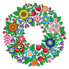 Polish folk art vector floral wreath design - Zalipie decorative pattern with flowers and leaves