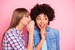 Leinwandbild Motiv Close-up portrait of her she two person nice cute girlish lovely attractive charming cheerful girls wearing casual sharing rumour conspiracy message isolated over pink pastel background