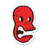 sticker of a funny cartoon skull