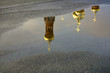 domes and crosses of the Orthodox Church reflected in puddle