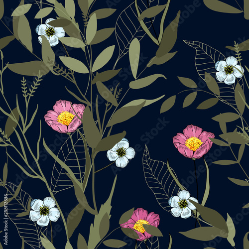 Wallpaper botanical vector illustration with hand drawn flowers. Fantasy florals seamless pattern.