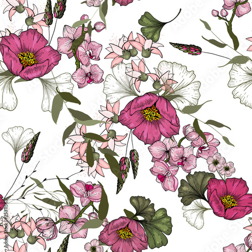 Realistic isolated seamless floral pattern. Hand drawn vector illustration. Paradise flowers. © Yuliia