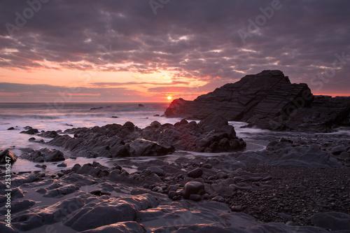 Sunset Sandymouth beach Cornwall Uk - 253116247