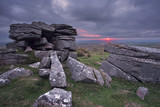 Sunset from Doe tor Dartmoor Devon Uk