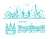 Fototapeta Londyn - Linear banner of London city © tettygreen