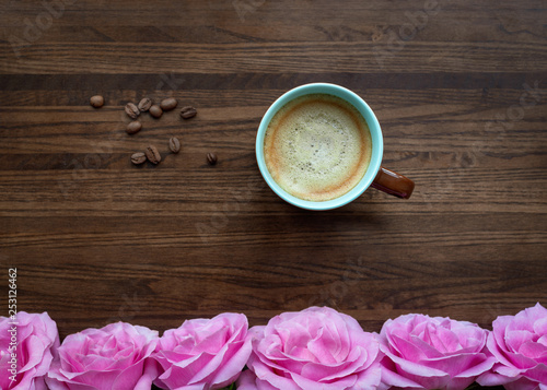 Flat lay, top view, copy space text, creative layout. Cup of coffee with foam over wooden texture background. Cafeteria bar wallpaper  © Svetlana Chekhlova