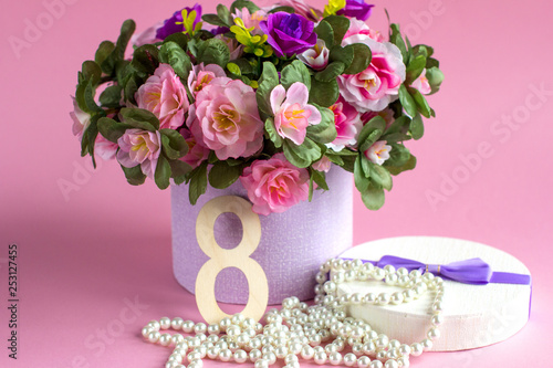 Spring background. Mother's day card March 8. Spring bouquet of flowers with Mimosa. International women day. - 253127455