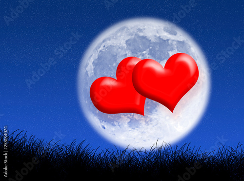 Hearts in the moon