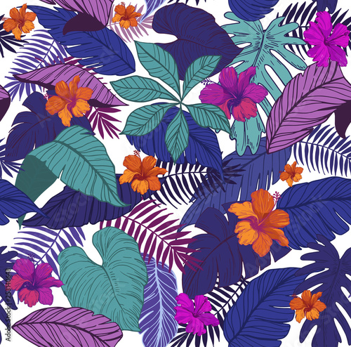 Seamless pattern with tropical leaves and flowers. Vector illustration © FILINmore