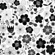 Scandinavian leaf and flowers pattern vector. Illustration. Black and white - 253149479