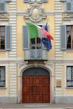 Palazzo storico con bandiera italiana a Monza in Italia, Historic palace with Italian flag at Monza in Italy