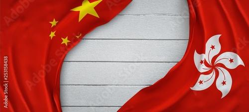 obraz PCV Flags together China and Hong Kong