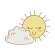 cute clouds and sun kawaii characters