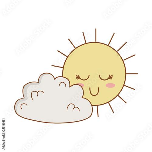 cute clouds and sun kawaii characters - 253160831