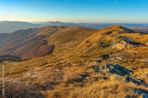 Bieszczady. Beautiful mountain landscape in autumn. Poland - 253163284