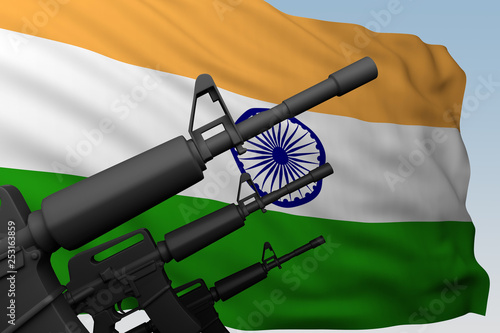 machine gun with flag India © petrovk