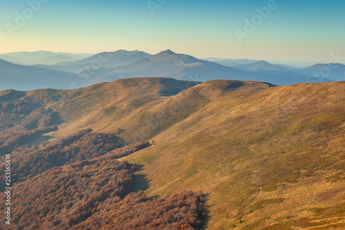 Bieszczady. Beautiful mountain landscape in autumn. Poland