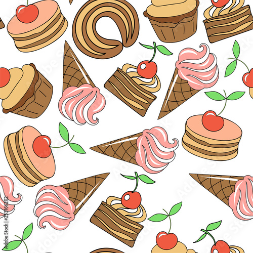 obraz PCV Cake with cherry, ice cream. Sweets for children. Seamless pattern. Vector image.