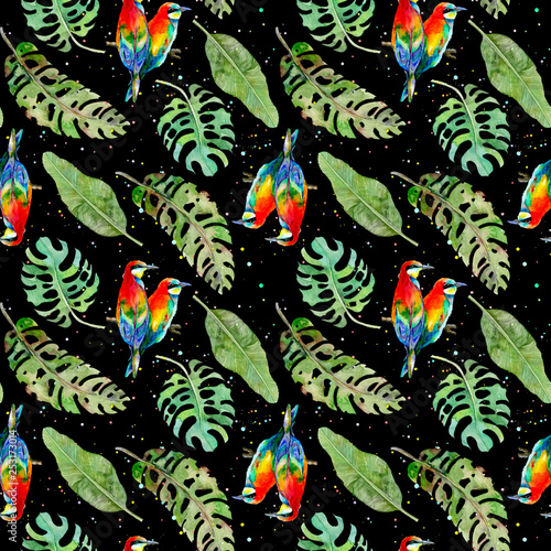 Seamless pattern of tropical palm leaves and colorful birds on black background. Watercolor illustration. © annakonchits