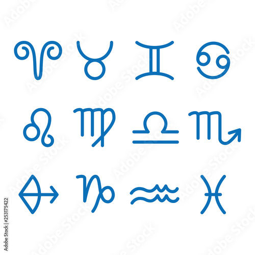 12 Zodiac sign for astrology. Outline style. Set of simple icons. Blue on white background vector © MARIA TRUSOVA