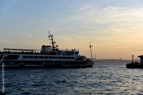 Ferryboat in the Istanbul bosphorus at sunset