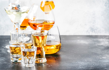Selection of hard strong alcoholic drinks and spirits in big glasses and small shot glass in assortment: vodka, cognac, tequila, brandy and whiskey, grappa, liqueur, vermouth, tincture, rum