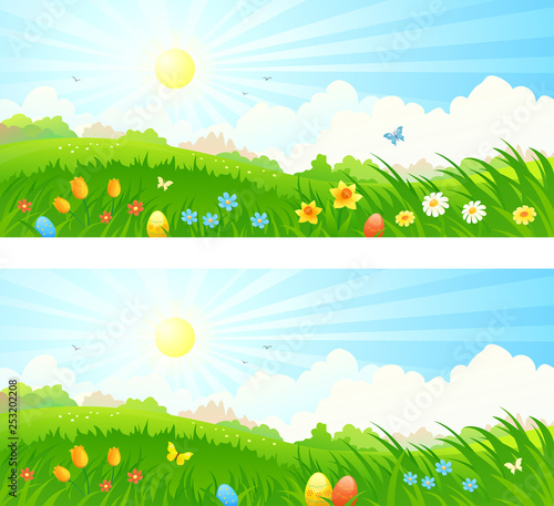 Vector cartoon drawing of a spring sunrise landscape with Easter eggs in the grass © Merggy