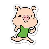 sticker of a cartoon angry pig wearing tee shirt