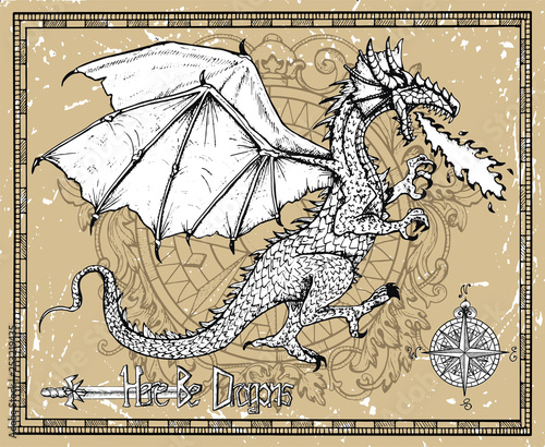 Dragon snorting fire, compass and title Here Be Dragons in frame. Vector sketch of tattoo fantasy concept and t-shirt design. Graphic line art illustration