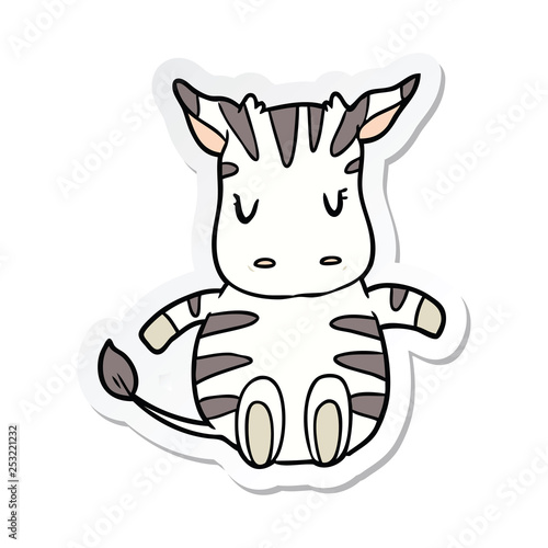 sticker of a cartoon zebra - 253221232